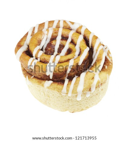 cinnamon roll isolated on white background - stock photo