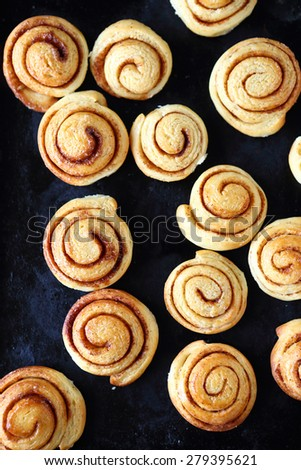 cinnamon rolls on a baking sheet, sweet food over-head - stock photo
