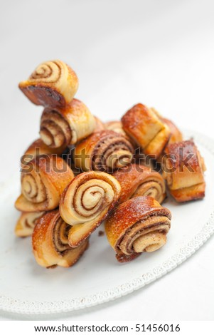 Cinnamon Rolls: small spiral twisted buns stuffed with a buttery cinnamon and brown sugar cream. Shallow depth of field on the first two rolls in the foreground