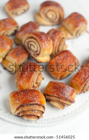 Cinnamon Rolls: small spiral twisted buns stuffed with a buttery cinnamon and brown sugar cream. Shallow depth of field on the first roll at the bottom left - stock photo