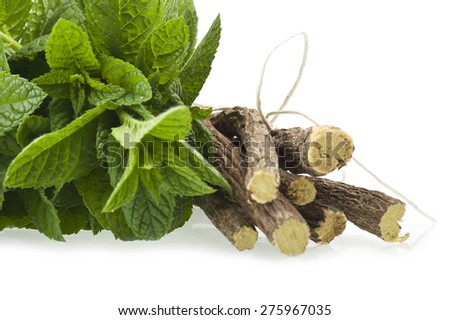 cinnamon,star anise,mint,licorice,close up on the white - stock photo