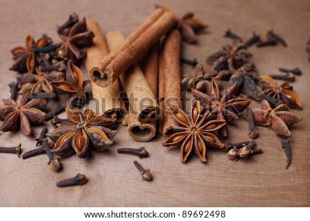 cinnamon, staranise and cloves - stock photo