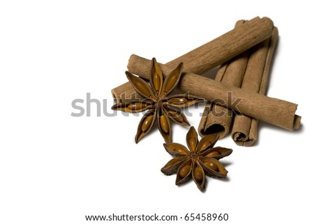 cinnamon stick isolated on white - stock photo