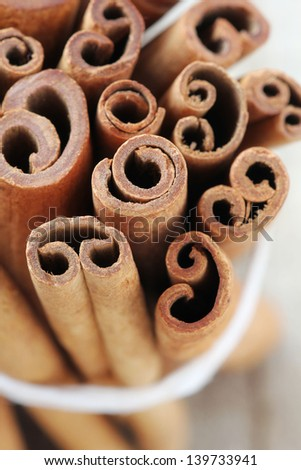 Cinnamon stick or quills closeup - stock photo