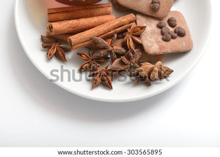 Cinnamon sticks and anise stars - stock photo