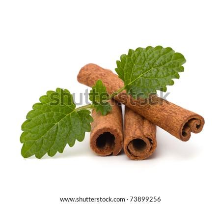 Cinnamon sticks and fresh bergamot mint leaf isolated on white background - stock photo