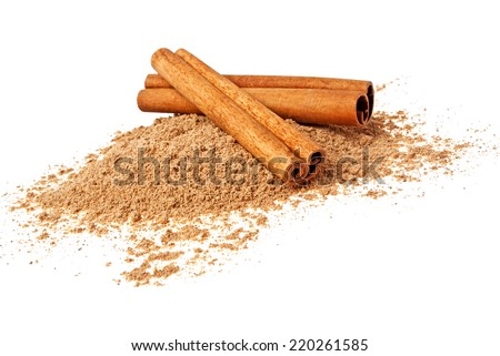 Cinnamon sticks and powder on a white background - stock photo