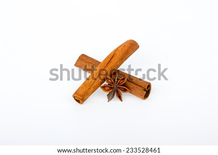 Cinnamon sticks and star anise on white background - stock photo