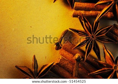 Cinnamon sticks, anise and clove - stock photo
