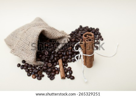 Cinnamon sticks for aromatic coffee drink - stock photo