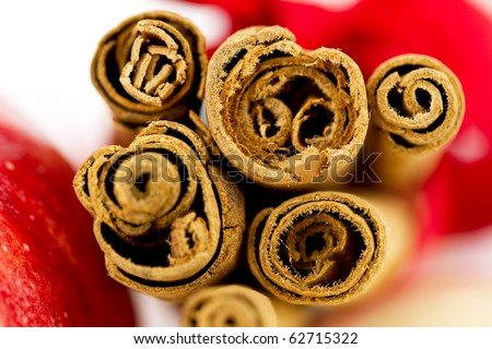 Cinnamon sticks macro view - stock photo