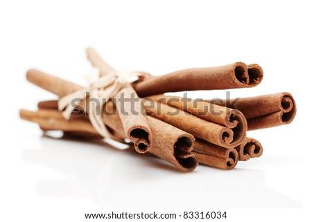 Cinnamon Sticks on white - stock photo