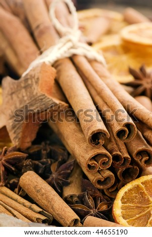 Cinnamon Sticks with Dried Fruits - stock photo