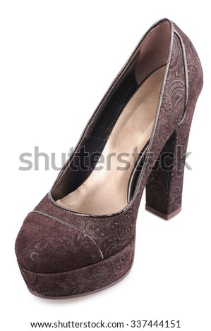 Cinnamon suede shoe isolated on white background.Top view. - stock photo