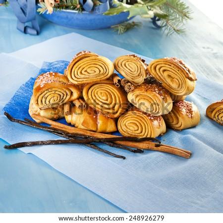 cinnamon vanilla rolls,low fat baking,gluten free,organic bio baking,sugar free - stock photo