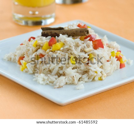 cinnamon with pilaf - stock photo