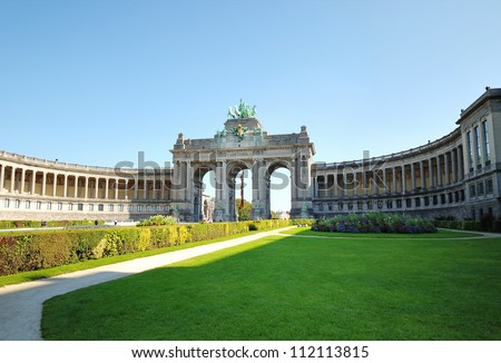 Cinquantennaire Park in Brussels with The Triumphal Arch - one of the architectural symbols of Brussels in clear day