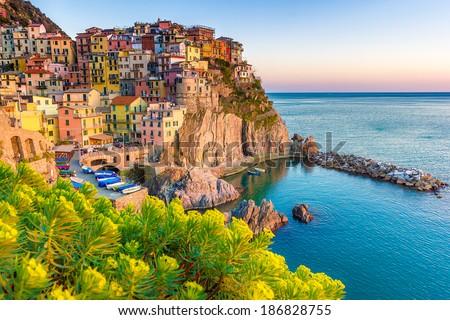 Cinque Terre, Italy - italian coast landscape - stock photo