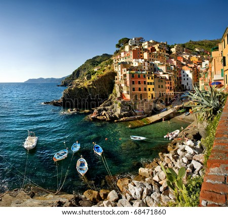 Cinque Terre, Italy - Riomaggiore colorful fishermen village. - stock photo