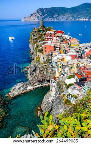Cinque Terre, Italy. Scenic view of colorful village Vernazza and Mediterranean Se coast in Liguria, italian landmark. - stock photo