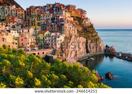 Cinque Terre National Park, scenics and sea coast, Italy - stock photo