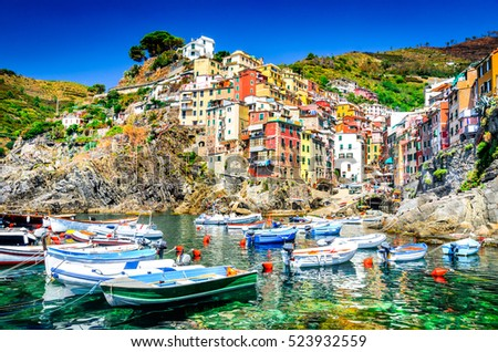 Cinque Terre. Riomaggiore village in a small valley in the Liguria region of Italy.