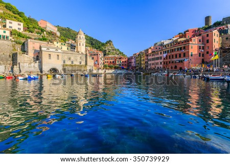 Cinque Terre, Vernazza. Italy. Fishing village in Cinque Terre national park, Italy. - stock photo