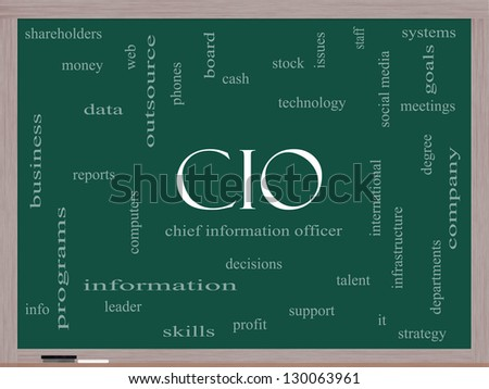 CIO Word Cloud Concept on a Blackboard with great terms such as information, officer, data, reports and more. - stock photo