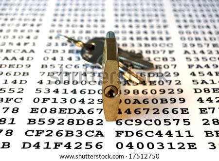 Cipher, keys and padlock symbolizing encryption - stock photo