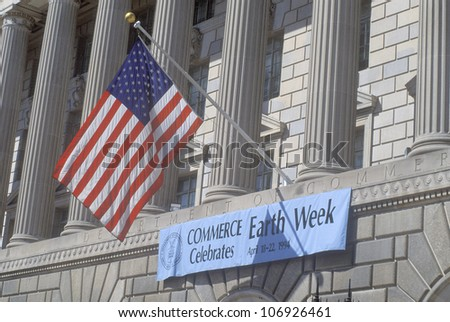 CIRCA 1994 - A sign indicating the celebration of Earth Week at The Department of Commerce in Washington, D.C. - stock photo