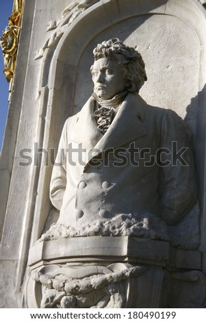 "CIRCA APRIL 2009 - BERLIN: the bust of Ludwig van Beethoven at the conductors monument (""Komponistendenkmal"") in the Tiergarten park of Berlin."