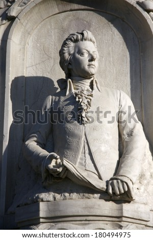 "CIRCA APRIL 2009 - BERLIN: the bust of Wolfgang Amadeus Mozart at the conductors monument (""Komponistendenkmal"") in the Tiergarten park of Berlin."