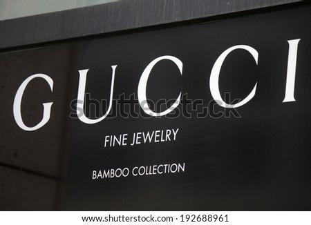 "CIRCA APRIL 2014 - BERLIN: the logo of the brand ""Gucci"", Berlin."