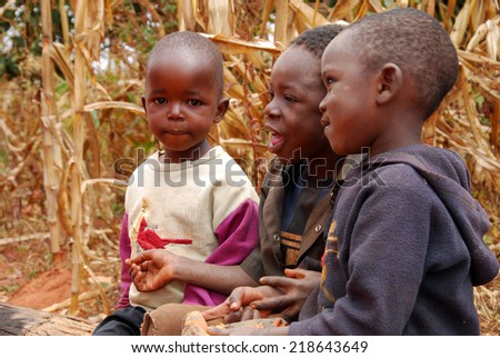 circa August 2014-Africa-Tanzania-African Unidentified children of the Village Pomerini hit by the AIDS virus. Between a present of misery, poverty and disease, and a future of hope contained in their eyes.