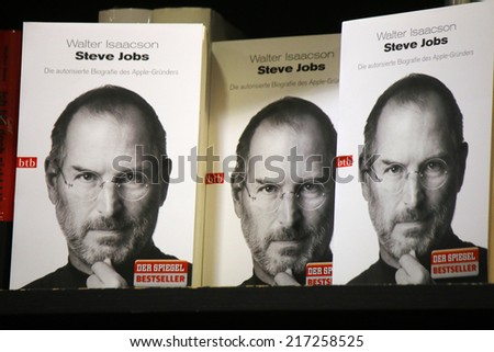CIRCA AUGUST 2014 - BERLIN: the cover of a biography of Apple founder Steve Jobs (by Walter Isaacson) with his portrait on it. - stock photo