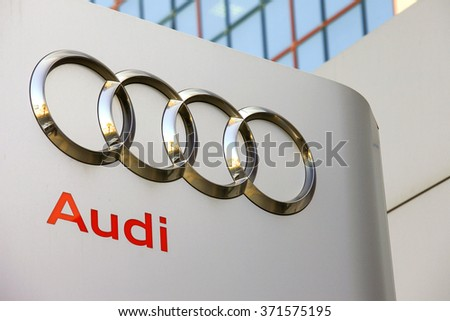 Circa, Circa - February 3, 2016: Audi emblem at one of Audi's auto dealerships, Audi is a German automobile manufacturer that designs, engineers, produces, markets and distributes luxury automobiles