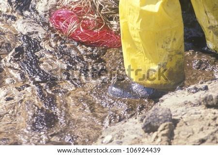 CIRCA 1990 - Close-up of a man walking through an oil spill in Huntington Beach, California - stock photo