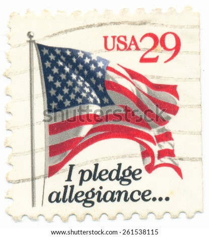 circa 1993, features waving US flag, UNITED STATES - CIRCA 1993: A postage stamp printed in the United States - stock photo