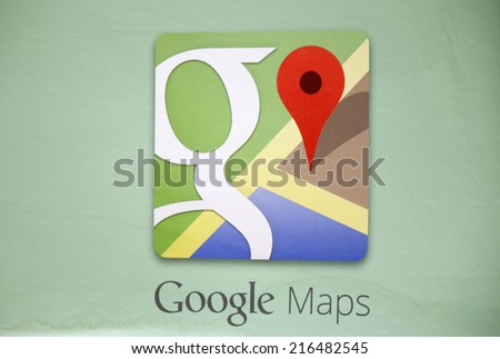 "CIRCA JULY 2014 - BERLIN: the logo of the brand ""Google Maps"", Berlin. - stock photo"