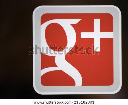 "CIRCA JULY 2014 - FRANKFURT: the logo of the brand ""Google Plus"", Frankfurt am Main, Germany. - stock photo"