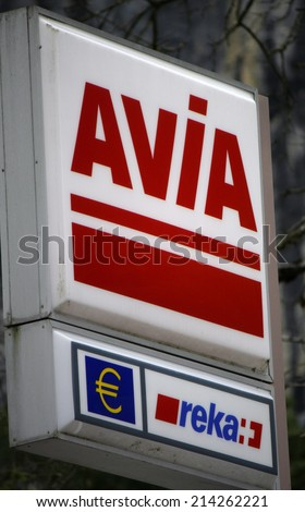 "CIRCA JULY 2014 - INTERLAKEN: the logo of the brand ""Avia"", Interlaken, Switzerland."
