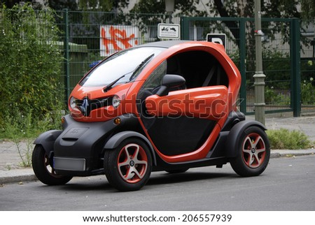 "CIRCA JUNE 2014 - BERLIN: a ""Renault Twizy"" electric car. - stock photo"