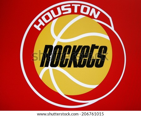 "CIRCA JUNE 2014 - BERLIN: the logo of the NBA basketball club ""Houston Rockets"".  - stock photo"