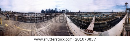 CIRCA JUNE 2000 - NEW YORK: 360 degree panorama of the skyline of Downtown Manhattan with the Twin Towers of the World Trade Center.