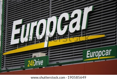 "CIRCA MARCH 2014 - BERLIN: the logo of the brand ""Europcar"", Berlin."