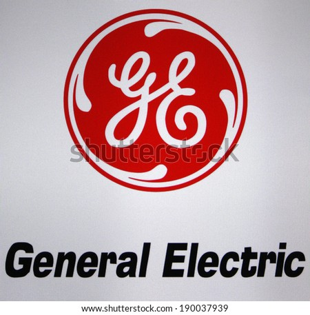 "CIRCA MARCH 2014 - BERLIN: the logo of the brand ""General Electric"". - stock photo"