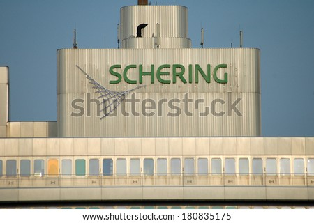 "CIRCA MARCH 2006 - BERLIN: the logo of the ""Schering"" company on its headquarters in the Wedding disrict of Berlin."