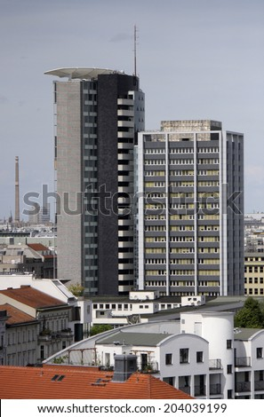 "CIRCA MAY 2014 - BERLIN: aerial view: the ""GSW-Hochhaus"" (GSW high rise building) in the Kreuzberg district of Berlin."