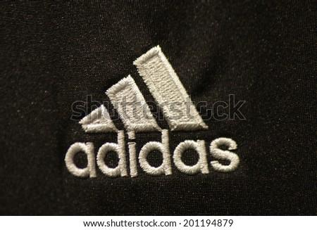 "CIRCA MAY 2014 - BERLIN: the logo of the brand ""Adidas""."