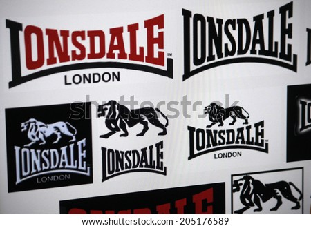 "CIRCA MAY 2014 - BERLIN: the logo of the brand ""Lonsdale""."